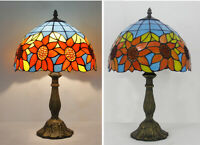 "Retro Tiffany Style Sunflower Table Lamp 12"" Stained Glass Accent Reading Lamp"