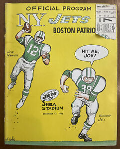 1966 New York Jets v. Boston Patriots Program WITH TICKET STUB, Joe Namath, NICE