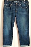 American Eagle Jeans Womens Size 2 Regular Boy Fit Stretch Cropped Blue Denim