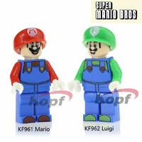 LOT DE 2 MINI FIGURINES MARIO ET LUIGI SUPER MARIO BROS COMPATIBLE LEGO