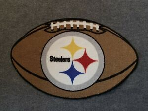 """Pittsburgh Steelers NFL Football Shaped Floor Door Mat Area Rug Carpet 20"""" x 31"""""""