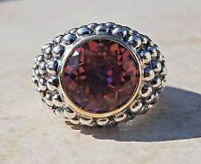 SAMUEL B 14K YELLOW GOLD & STERLING SILVER AZOTIC TOPAZ RING-925 585 BJC 5.5CT