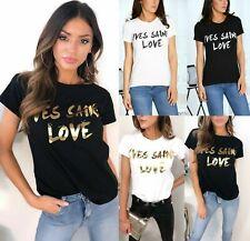 Womens Ladies Yves Saint Love Slogan Print Round Neck Short Sleeve Top T-Shirt