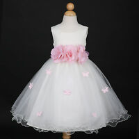 Ivory/Pink Toddler Party Wedding Flower Girl Dress 6M 12M 18M 2/2T 3/4 5/6 8 10