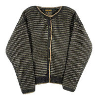Woolrich Women's Cardigan Sweater Button Front Black Tan Heather Wool Size Small