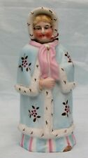 Antique Victorian Porcelain Nodder Lady in Ermine Fur Trimmed Cloak & Bonnet