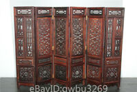 P88 Rare Asian Oriental Chinese Handwork Carved Red Acid Sticks Wood Screen