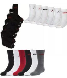 6-Pack Nike Air Jordan Jumpman Kids Crew Socks Shoe Size 3Y-5Y New!