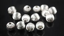 🎀 3 FOR 2 🎀 100 Silver Pumpkin 6mm Spacer Beads For Jewellery Making
