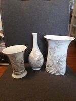 Kaiser Porzellan, drei zusammen gehörige Vasen, Atlantis vom Designer K. Nossek