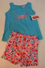 NEW Baby Girls 2 pc Set Size 24 Months Tank Top Shirt Blue Love Heart Shorts