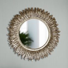 Antique Silver Round Feather Wall Mirror Living Room Bedroom Vanity Mirror