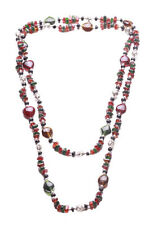 Folk/ Grand Beaded Multitones Mulberry, Umber & Black /lenghty Neckpiece (Zx75)