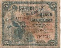 Vintage Banknote Belgian Congo 1943 5 Francs Pick 13Ab US Seller