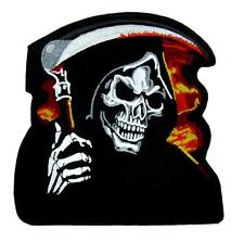 Burn in Hell Grim Reaper w/ Scythe Patch Iron on Applique Metal Horror Death Emo