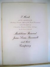 MADELEINE RENAUD & JEAN-LOUIS BARRAULT COMPANY Souvenir Program NYC & Tour 1952