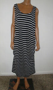 OLD NAVY Maternity Dress,Black-White Striped,Tank Top Sundress,Stretch,XXL