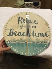 """Reduced! Free Shipping! New Battery Operated Clock """"Relax, you're on Beachtime�"""