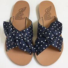 Ancient Greek Sandals Thais Polka Dots Size 36 Blue White