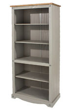 CORONA Grey Washed Tall Bookcase Mexican Storage Solid Pine Media Unit Shelving