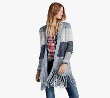 NWT Lucky Brand Blue Textured Stripe Fringe Cardigan Duster Sweater M Medium