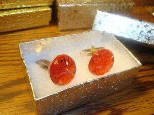 #1 Pair (2) Red STAR BURST Design Hamilton Gold Plated Cuff links w/Gift Box