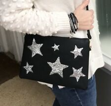Sparkly Glitter silver Star Navy Clutch Bag with Long Cross Body Strap Navy