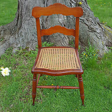 19th C. Antique TIGER MAPLE Side Chair HAND-CANED Seat - See Delivery Options!