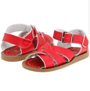 SALT WATER SANDALS 884 RED Leather SUN-SAN BY HOY SHOES INFANT TODDLER SZ 5 NEW