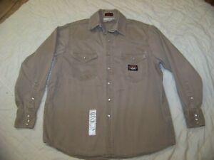 Men's Rasco FR Khaki Denim Shirt  with Pearl Snaps - XL - Long