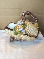 Vintage Bassano Italy Basket Shaped Wine Bottle Caddy