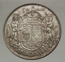 1951 CANADA - Large SILVER 50 Cents Coin - UK King GEORGE VI Coat-of-Arms i57121