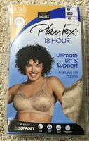 NWT Bra Playtex 18 Hour 4745 Ultimate Lift & Support Wirefree Panels Nude 38DD