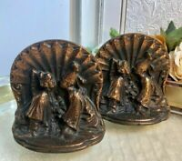 Vintage cast Copper bookends Mid Century Modern Pair Tibetan / Chinese / Kids