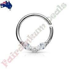 Silver Ion Plated Bendable Septum/Cartilage Ring Prong Set Marquise Clear CZ