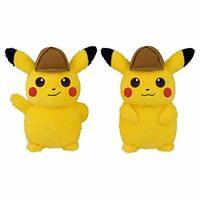 BANPRESTO Detective Pikachu Big Plush Doll Stuffed Toy 2 Set w/ Tracking NEW