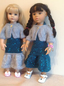 """Dolls clothes knitting pattern.18"""" doll. Halter neck dress and shrug. KNM76"""
