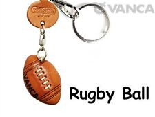 Rugby Ball Handmade 3D Leather Keychain/charm/Gift VANCA Made in Japan #56597