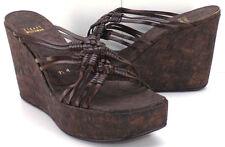 STUART WEITZMAN Leather Platform Wedge Slide Sandals Women's US Shoe Size 9.5M