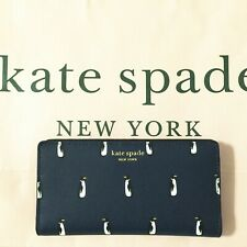 NWT Kate Spade New York Cameron Penguin Large Slim Bifold Wallet Navymulti