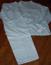 NWT Miss Elaine Soft AQUA Tone-On-Tone FLORAL Brushed-Back SATIN Pajama Set XL