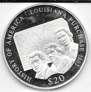 2000 Proof Liberia $20 .999 Silver History of America Louisiana Purchase 1803