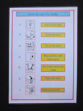Toilet Routine A4 Wall Chart-Autism/Visual communication/PECS/Dementia/Early Yrs