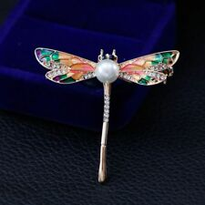 Lapel Pin Fashion Jewelry Gift Unisex Pretty Rhinestone Dragonfly Insect Brooch