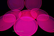 Blacklight Reactive Pink 9 Inch Plastic Party Plates- 12 ct.