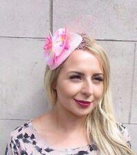 Baby Light Pink Orchid Flower Fascinator Net Hair Headband Wedding Races 3127