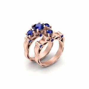Blue Sapphire Lesbian Wedding Ring Set Matching Engagement Ring Set In Rose Gold