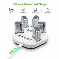 5 Pack 9V Rechargeable Lithium Ion Batteries + iQuick Smart Charger RUNS OFF USB