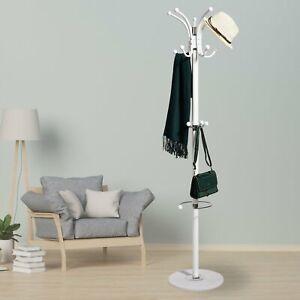 New Hat Coat Umbrella Stand Clothes Storage Rack Holder Steel Racks Hooks White