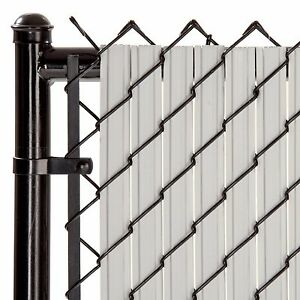 Chain Link Gray SoliTube™ Max-Privacy Slat For 8-ft Fence Bottom Lock